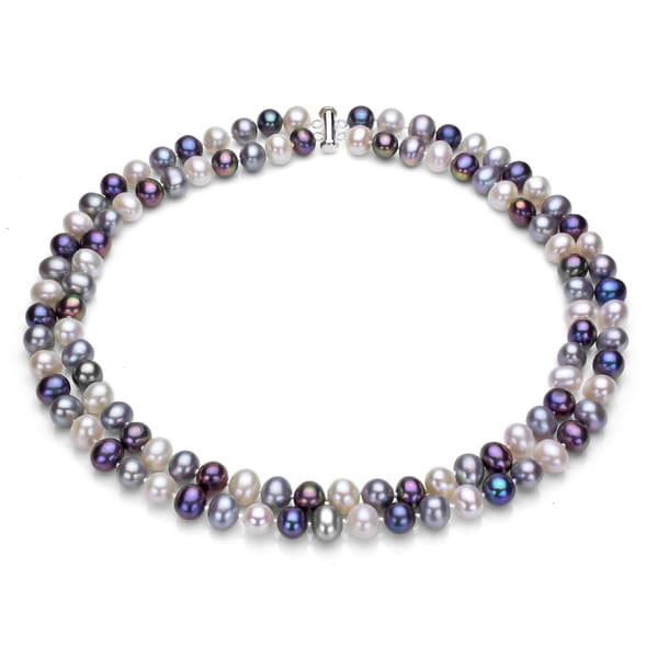 Multi Row Pearl Necklace: Shop DaVonna Sterling Silve 2-row 9-10mm Freshwater Pearl