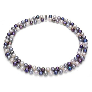 DaVonna Sterling Silve 2-row 9-10mm Freshwater Pearl Necklace, 18 inches with Gift Box
