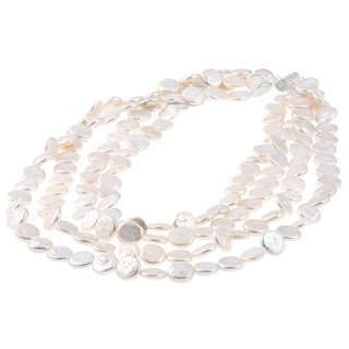 White Freshwater Coin Pearl 4 Row Necklace 9 11 Mm