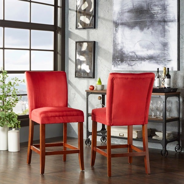 TRIBECCA HOME Parson Cranberry Red Counter Height Chairs (Set of 2)
