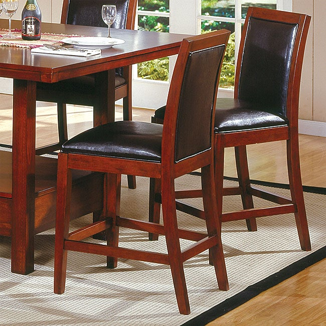 Aiden Dark Chocolate Vinyl Counter-height Chairs (Set of 2) - Thumbnail 0