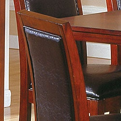 Aiden Dark Chocolate Vinyl Counter-height Chairs (Set of 2) - Thumbnail 1