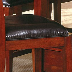 Aiden Dark Chocolate Vinyl Counter-height Chairs (Set of 2) - Thumbnail 2