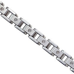 Unending Love Men's Stainless Steel and 10k Gold 1/10ct TDW Diamond Bracelet