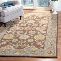 Safavieh Handmade Heritage Traditional Kerman Brown/ Blue Wool Rug - 5' x 8'