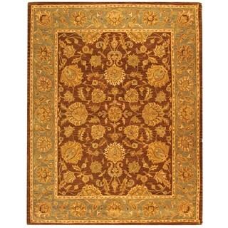 Safavieh Handmade Heritage Traditional Kerman Brown/ Blue Wool Rug (8' 3 x 11')