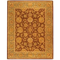 Safavieh Handmade Heritage Traditional Kerman Brown/ Blue Wool Rug - 8'3 x 11'