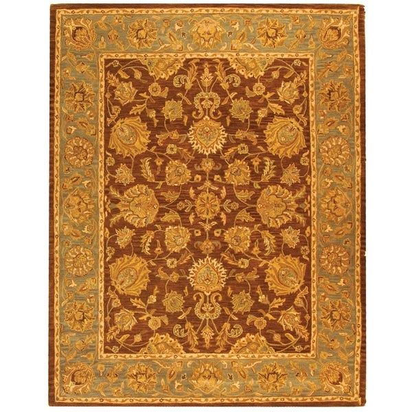 Safavieh Handmade Heritage Traditional Kerman Brown/ Blue Wool Rug - 8'3 x 11'