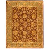 """Safavieh Handmade Heritage Traditional Kerman Brown/ Blue Wool Rug - 8'3"""" x 11'"""