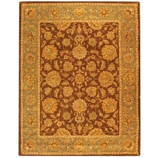 Safavieh Handmade Heritage Traditional Kerman Brown/ Blue Wool Rug (9' 6 x 13' 6 )