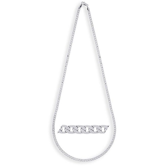 Simon Frank 14k White Gold Overlay 24-inch Cuban-style Necklace
