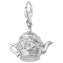 Sterling Silver Floral Teapot Charm
