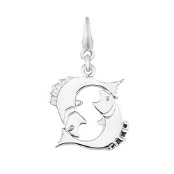 Sterling Silver Pisces Fish Symbol Charm