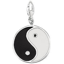 Sterling Silver Black and White Enamel Yin Yang Charm