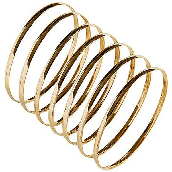 Nexte 14k Gold Overlay Stackable 'Semanario' Bangle (Set of 7)