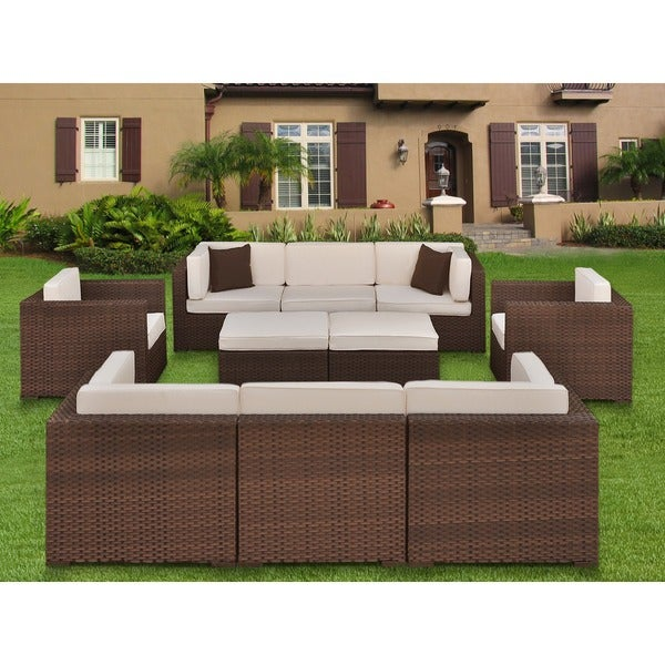 Atlantic Milano 10 Piece Patio Furniture Set   Free Shipping Today    Overstock.com   11547802