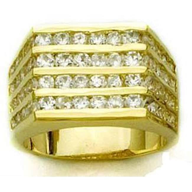Simon Frank 14k Yellow Gold Overlay Men's CZ Channel Ring