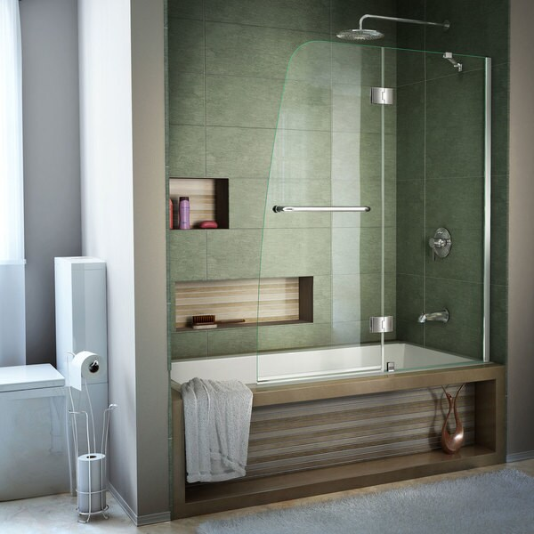 Shop DreamLine Aqua 48 in. Frameless Hinged Tub Door - Free Shipping ...