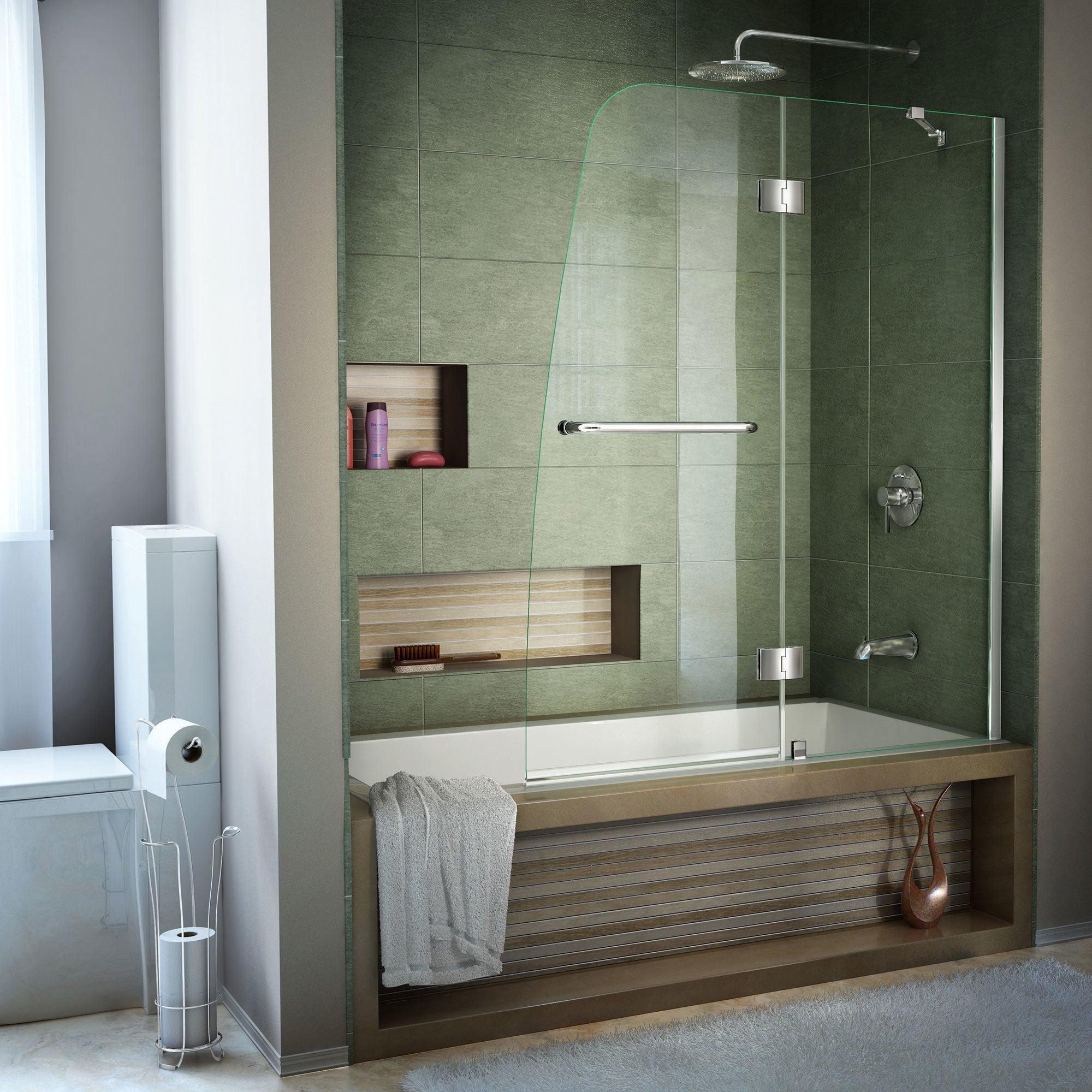 Dreamline Aqua 48 in. Frameless Hinged Tub Door (Brushed ...