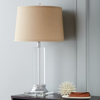 Clearance. Crystal Column Table L& w/ Tan Shade & Lamp Sets For Less - Clearance \u0026 Liquidation | Overstock
