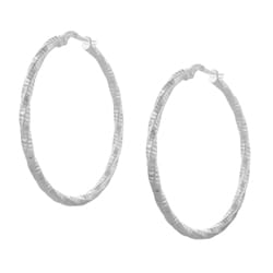 Journee Italian Sterling Silver Twisted Hoop Earrings