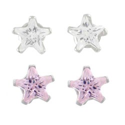 Journee Collection Sterling Silver CZ Star Earrrings