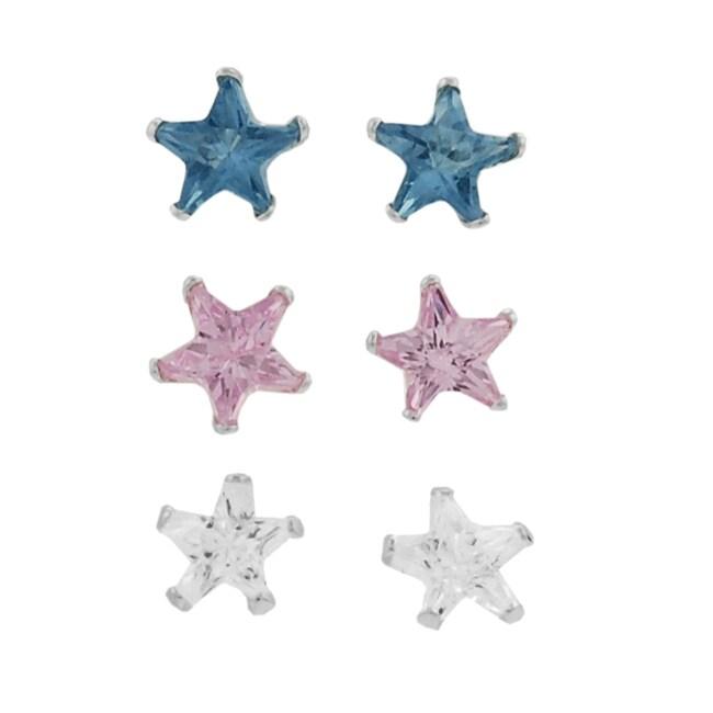 Journee Sterling Silver 4-mm CZ Star Earrings (Case of 3)