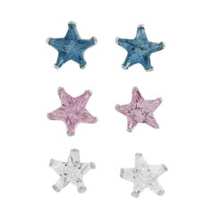 Journee Sterling Silver 4-mm CZ Star Earrings (Case of 3)