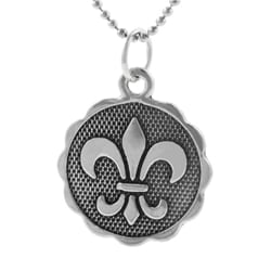 Journee Collection  Sterling Silver Double-sided Fleur de Lis Necklace - Thumbnail 1