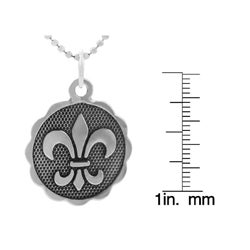 Journee Collection  Sterling Silver Double-sided Fleur de Lis Necklace - Thumbnail 2