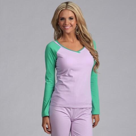 Yogacara Women's Lilac/Sea-Breeze Wide-Neck Top