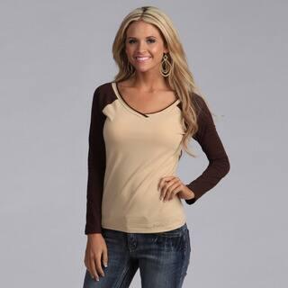 Yogacara Women's Cream/Brown Wide-Neck Top|https://ak1.ostkcdn.com/images/products/3478623/Yogacara-Womens-Cream-Brown-Wide-Neck-Top-P11549356.jpg?impolicy=medium