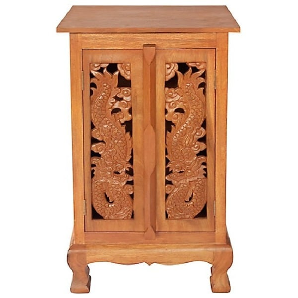 Hand-carved Dragon 32-inch Storage Cabinet/ End Table - Free ...