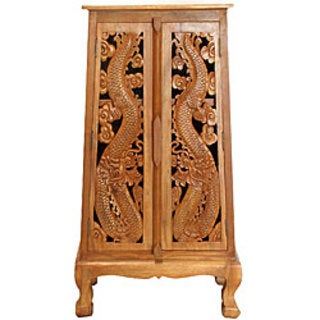Hand-carved Thai Dragon 50-inch Storage Cabinet