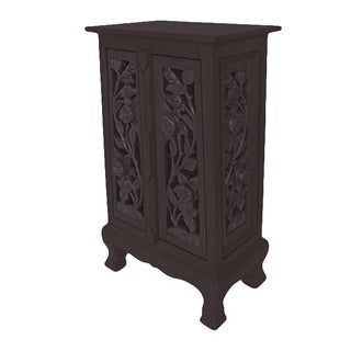 Hand-carved Vintage Roses 32-inch Storage Cabinet (Thailand)