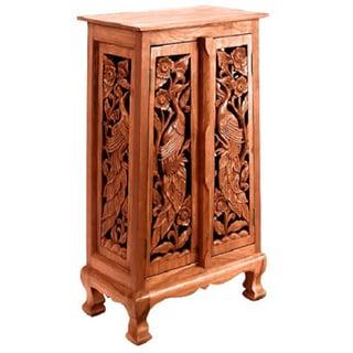 Hand-carved Bird Motif 40-inch Storage Cabinet