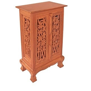 Carved Bamboo Trees Storage Cabinet/ End Table