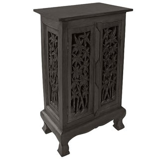 Carved Bamboo Tree Storage Cabinet/ End Table