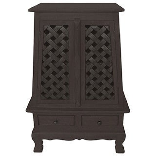Carved Lattice Design Storage Cabinet/ End Table