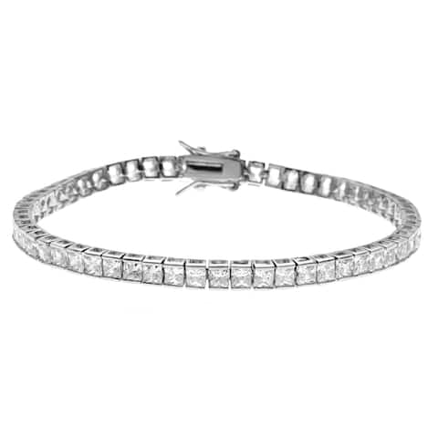 Simon Frank Designs Princess Cut Channel Set CZ Tennis Bracelet