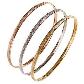 Nexte TexturedTri-color 'Fin de Semana' Bangle Bracelets (Set of 3)