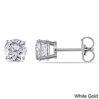 Miadora Signature Collection 14k White Gold 1 1/2ct TDW Certified Round Diamond Stud Earrings