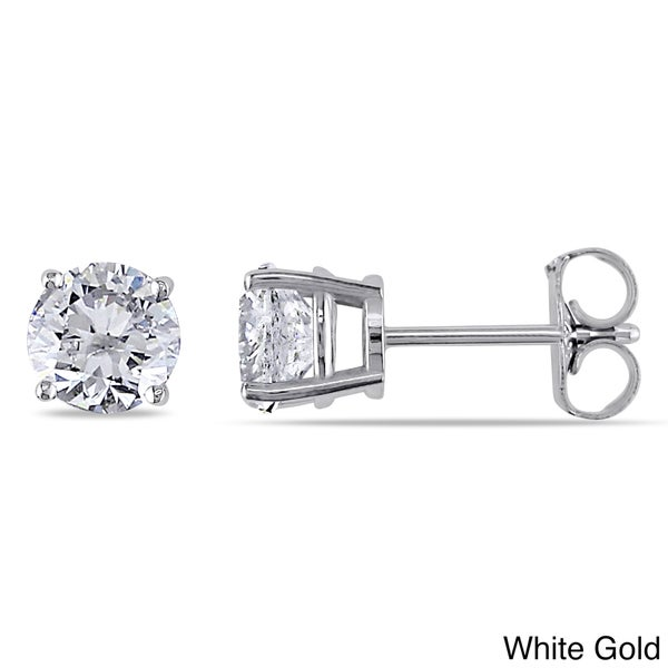 Miadora Signature Collection 14k White Gold 1 1/2ct TDW Certified Round Diamond Stud Earrings (G-H, I1-I2)