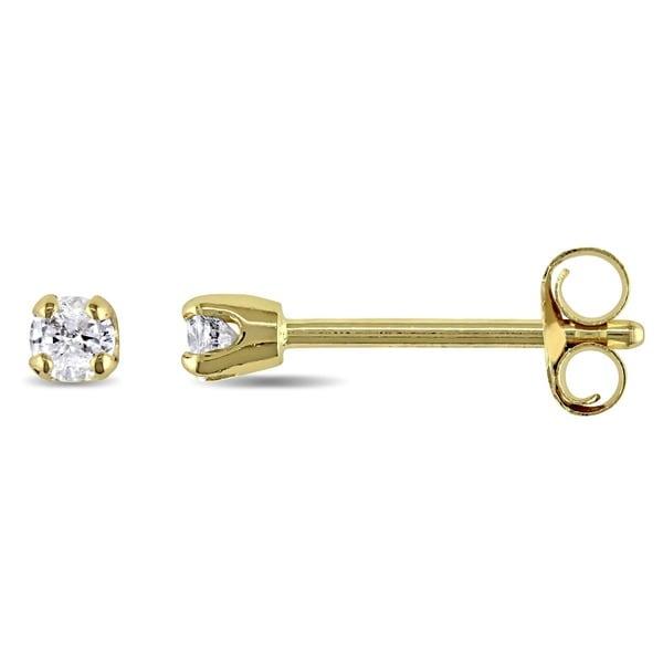 41b34140378 Shop Miadora 14k White or Yellow Gold 1 10ct TDW Round Diamond Stud ...