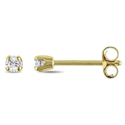 Miadora 14k White or Yellow Gold 1/10ct TDW Round Diamond Stud Earrings