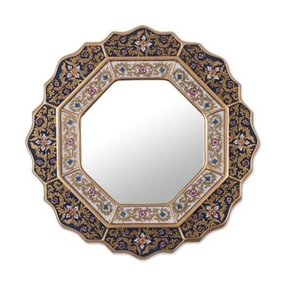 "Handmade Azure Star Blue Reverse Painted Glass Mirror (Peru) - 17.25"" x 17.25"""