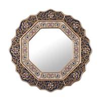 Handmade 'Star' Mirror (Peru) - Blue/Metallic