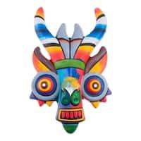 Handmade Ceramic 'Rainbow Demon' Mask (Peru)
