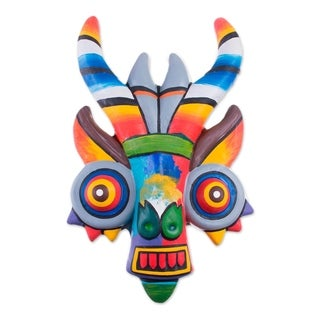Handmade Ceramic 'Rainbow Demon' Mask (Peru) - N/A