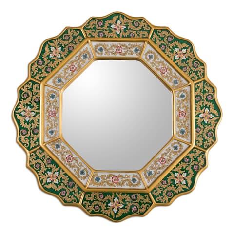 "Handmade Floral White and Deep Green Wall Mirror (Peru) - 17.25""x17.25"""